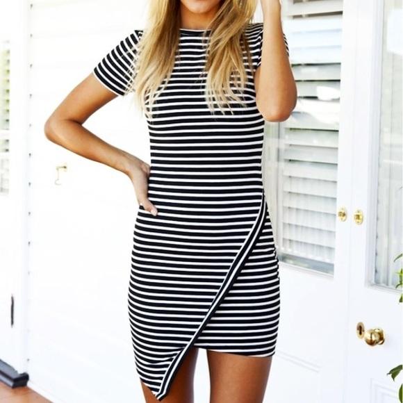 0b8f831612ff WISHLIST Asymmetrical Black & White Striped Dress.  M_5a4e8201331627407c0175be